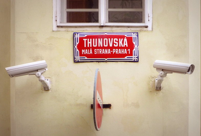 Thunovska, Mala Strana - Praha 1, Street Signs and security cameras, Prague, 2013
