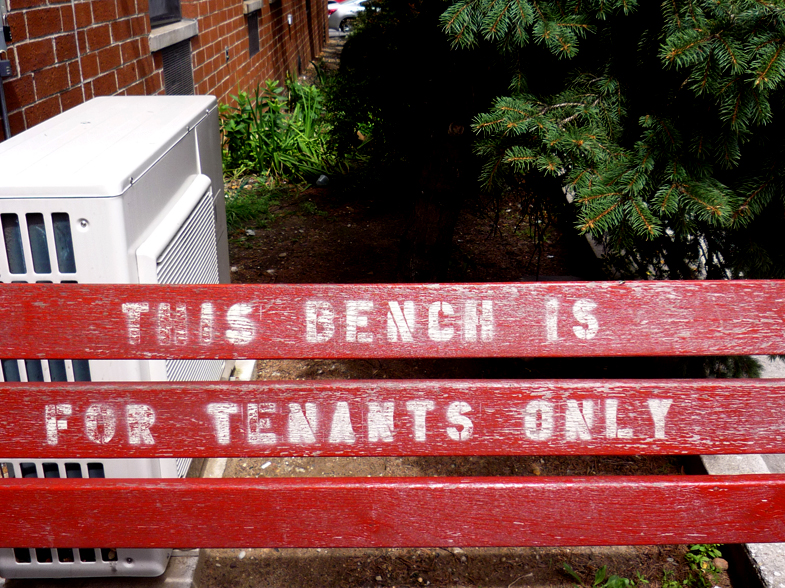 This bench is for tenants only, Williamsburg (Brooklyn), 2012